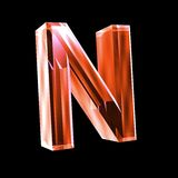 Letter N in red glass 3D Stock Images