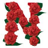 Letter N red roses  illustration Royalty Free Stock Image