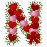 Letter N - Valentine letter. Letter N - with heart, bow, ribbon and leaf Royalty Free Stock Image
