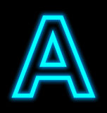Letter A neon lights outlined isolated on black Royalty Free Stock Photo