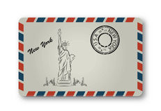 Letter from New York with Statue of Liberty painted. Stylization Royalty Free Stock Image