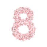 The letter number eight or 8, in the alphabet Heart flower bush. Illustration set flat design pink color isolated on white background, vector eps10 Royalty Free Stock Photography