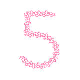 The letter number five or 5, in the alphabet Heart flower petals. Illustration set flat design pink color isolated on white background, vector eps10 Royalty Free Stock Photos