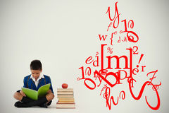Composite image of letter and number jumble. Letter and number jumble against schoolboy studying against white background Stock Image