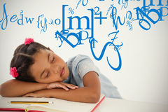 Composite image of letter and number jumble. Letter and number jumble against young girl sleeping with her head on desk Royalty Free Stock Photography