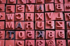 Letter and number stamps macro - alphabet letterpress , royalty free stock photography