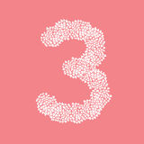 The letter number three or 3, in the alphabet Heart flower bush. Illustration set flat design white color isolated on pink background, vector eps10 Stock Photos