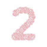 The letter number two or 2, in the alphabet Heart flower bush. Illustration set flat design pink color isolated on white background, vector eps10 Stock Images