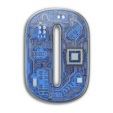 Letter O. Alphabet in circuit board style. Digital hi-tech letter isolated on white vector illustration
