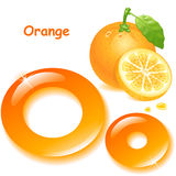 Letter O. Alphabet. English capital and uppercase letter O, stylized color of orange juice. orange with leaf  and slices. vector illustration Royalty Free Stock Image
