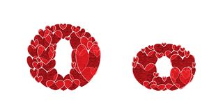 Letter O, of alphabet made from hearts. Letter O, uppercase and lowercase of alphabet made from hearts Stock Image