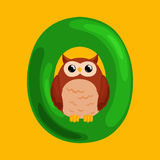 Letter O with animal owl for kids abc education in preschool. Animal owl and letter O for kids abc education in preschool.Cute animals letters english alphabet Vector Illustration