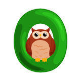 Letter O with animal owl for kids abc education in preschool. Animal owl and letter O for kids abc education in preschool.Cute animals letters english alphabet Royalty Free Illustration