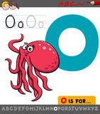 Letter o with cartoon octopus animal Stock Images