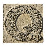 Letter O carved in a concrete block Stock Image