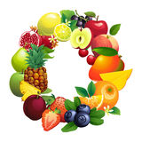 Letter O composed of different fruits with leaves Stock Image