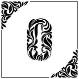 The letter O. Decorative Font with swirls and floral elements. Vintage style.  Stock Images