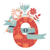 Letter O in floral style. Decorative Letter O with floral pattern and cute bouque Royalty Free Stock Images