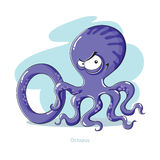 Letter O with funny Octopus. Cartoons Alphabet - Letter O with funny Octopus vector illustration