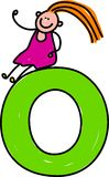 Letter O girl. Happy little girl sitting on giant letter O - lowercase version Royalty Free Stock Images