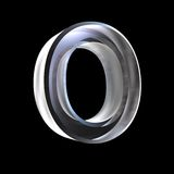 Letter O in glass 3D Royalty Free Stock Photography