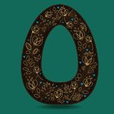 The Letter O with Golden Floral Decor. Dark brown symbol. Yellow flowers and plants with metallic blazing effect. Blue small hearts. Vector Illustration Royalty Free Stock Images