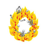 Letter O hellish flames and sinners font. Fiery lettering. Infer. Nal fire alphabet sign. ABC devilish flame of Death Satanic and skeleton Stock Photos