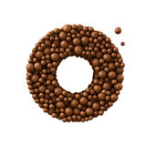 Letter O made of chocolate bubbles, milk chocolate concept, 3d render.  stock illustration