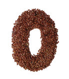 Letter O made with Linseed also known as flaxseed isolated on wh Stock Photo