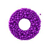 Letter O made of plastic beads, purple bubbles, isolated on white, 3d render Royalty Free Stock Photo