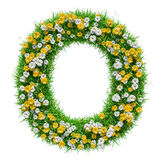 Letter O Of Green Grass And Flowers Stock Photo