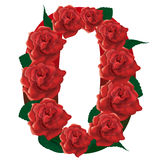 Letter O red roses  illustration Stock Photography