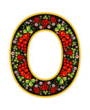 Letter O in the Russian style. The style of Khokhloma on the font. A symbol in the style of a Russian doll on a white background. The font of the football Royalty Free Stock Image