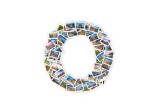 Letter O uppercase font shape alphabet collage made of my best l Royalty Free Stock Photography