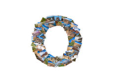Letter O uppercase font shape alphabet collage Royalty Free Stock Images
