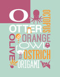 Letter O words typography illustration alphabet poster design royalty free illustration