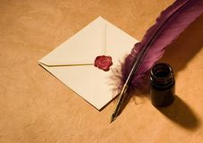 Letter old-fashioned. Still-life with  a letter, a quill and an inkwell Stock Photography