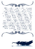 Letter With Old Quill Vintage. Vintage Ink Written Letter With Old Quill (Text part removable/editable vector illustration