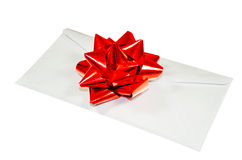 Letter. One letter decorated with red bow as gift, letter for some events stock photography
