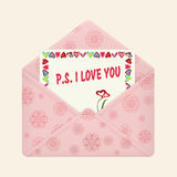 Letter in open colorful envelope. Postcard with a message P.S. I love you. Valentine letter, flat icon. Declaration of love. Vector illustration. Isolated on Stock Photo