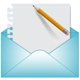 Letter and open envelope. Vector Stock Image