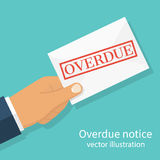Letter Overdue Notice. Hand holding letter Overdue Notice. Past due, final notice. Junk mail. Envelope with the stamp in hand. Receive mail. Vector illustration Royalty Free Stock Photo