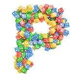 Letter P, from ABC Alphabet Wooden Blocks. 3D rendering stock illustration