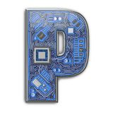 Letter P. Alphabet in circuit board style. Digital hi-tech letter isolated on white stock illustration