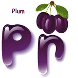 Letter P. Alphabet. English capital and uppercase letter P, stylized color of  plum purple juice. branch plum with leaf . vector illustration Stock Image