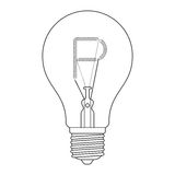 The letter P, in the alphabet Incandescent light bulb set. Outline style black and white color isolated on white background Royalty Free Stock Photos