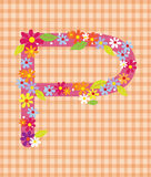 The letter P Bright floral element of colorful alphabet in  Stock Images