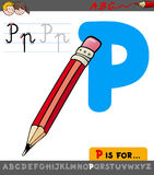 Letter p with cartoon pencil object Stock Images