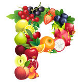 Letter P composed of different fruits with leaves Royalty Free Stock Image