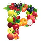 Letter P composed of different fruits with leaves Stock Image